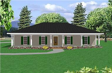 4-Bedroom, 1856 Sq Ft Country House Plan - 123-1047 - Front Exterior