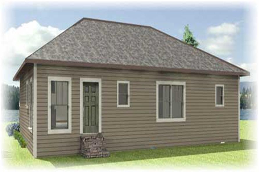 Home Plan Rear Elevation of this 4-Bedroom,1541 Sq Ft Plan -123-1049