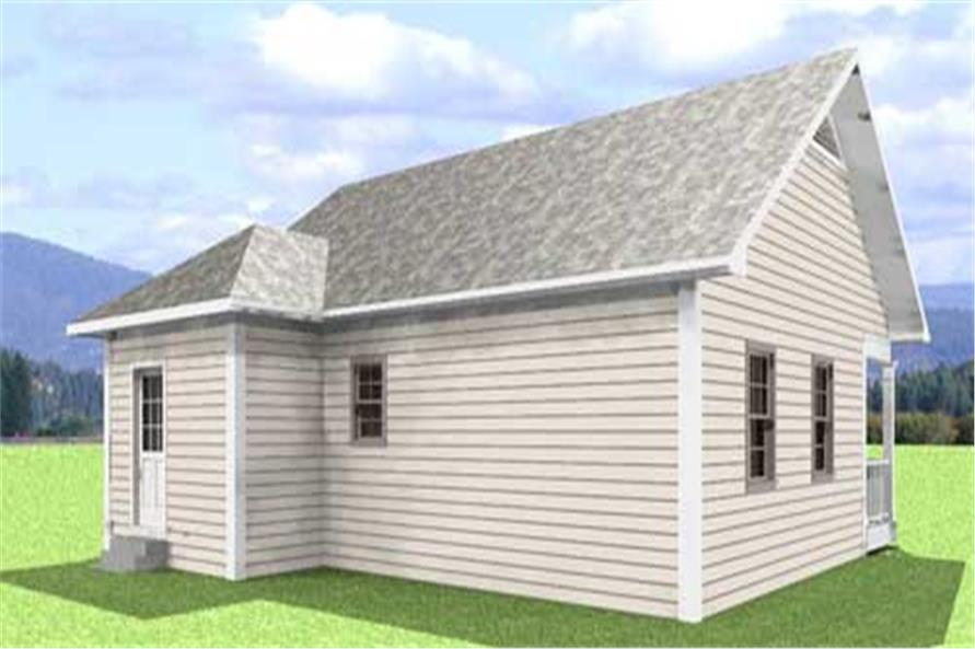 Home Plan Rear Elevation of this 2-Bedroom,864 Sq Ft Plan -123-1050