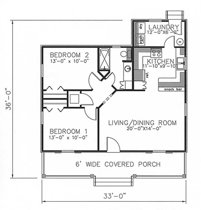 Country House Plan - 2 Bedrms, 1 Baths - 864 Sq Ft - #123-1050