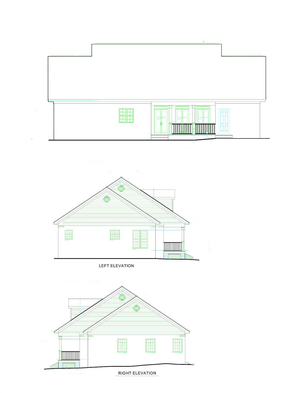 123-1051: Home Plan Rear Elevation and Side Elevations