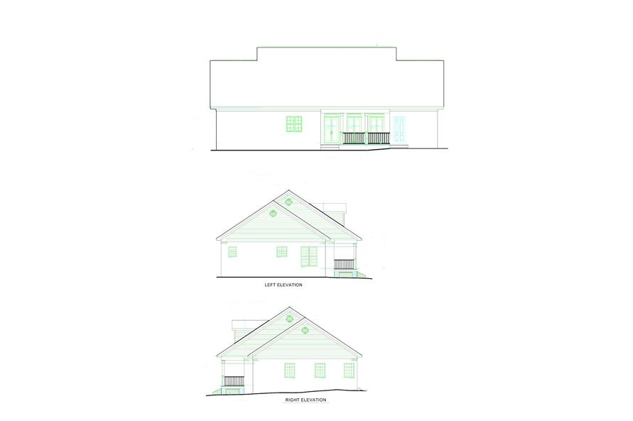 Home Plan Rear Elevation of this 3-Bedroom,1785 Sq Ft Plan -123-1051
