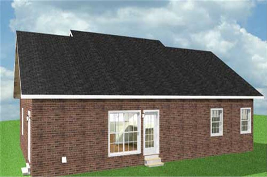 Home Plan Rear Elevation of this 3-Bedroom,1700 Sq Ft Plan -123-1053