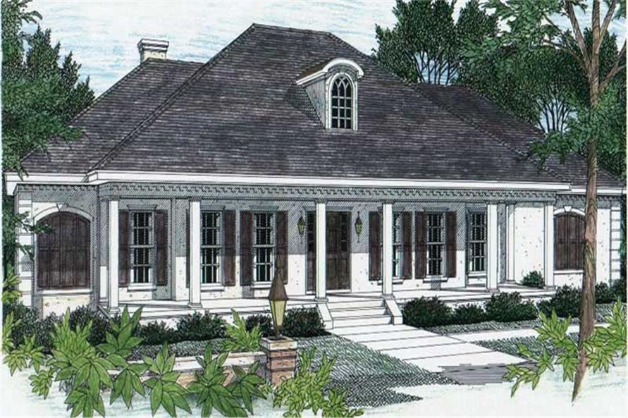 superior southern traditional house plans #7: #123-1060 · Home Plan Rendering for southern house plans # DH-2605