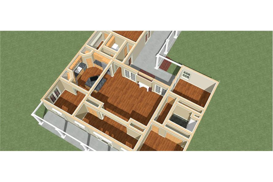 Home Plan 3D Image of this 3-Bedroom,2052 Sq Ft Plan -2052