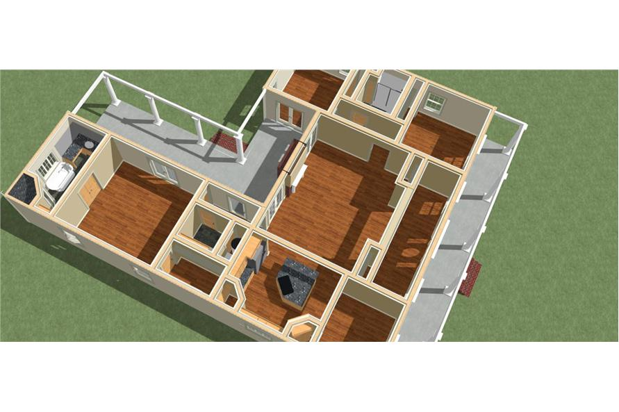 Home Plan 3D Image of this 3-Bedroom,2052 Sq Ft Plan -123-1062