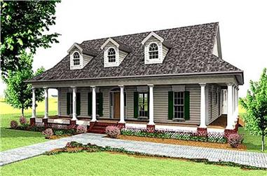 3-Bedroom, 2123 Sq Ft Country Home Plan - 123-1066 - Main Exterior