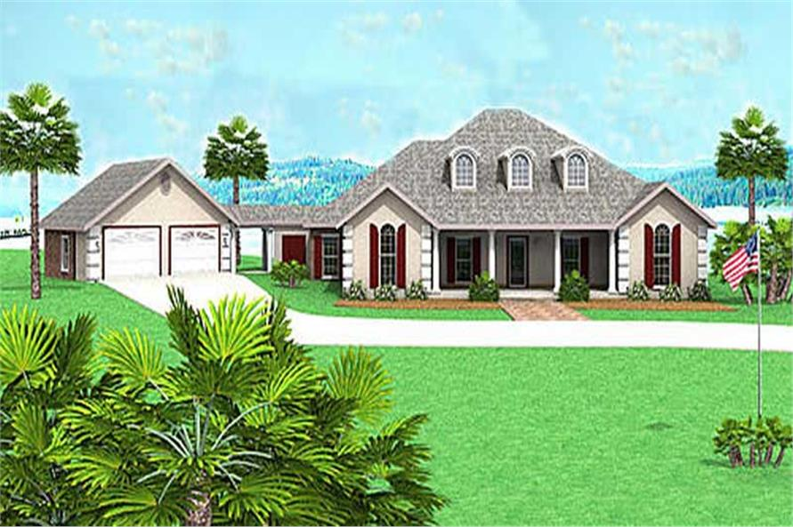 4-Bedroom, 2421 Sq Ft European House Plan - 123-1068 - Front Exterior
