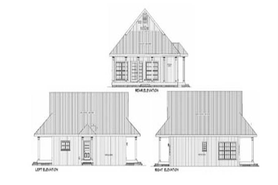 Home Plan Rear Elevation of this 2-Bedroom,1292 Sq Ft Plan -123-1071