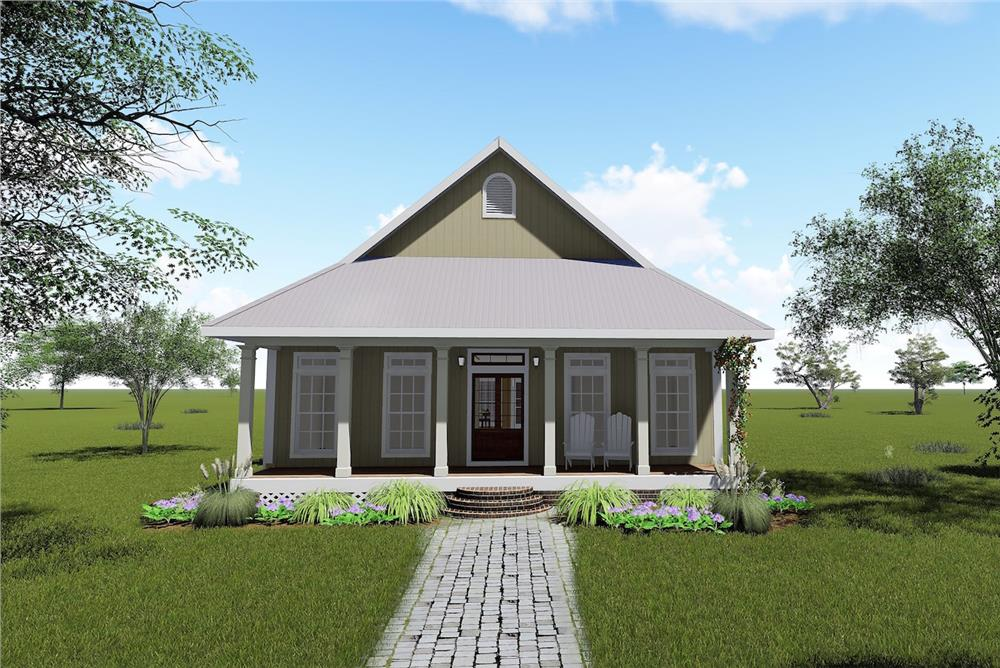 Color rendering of Bungalow home plan (ThePlanCollection: House Plan #123-1071)