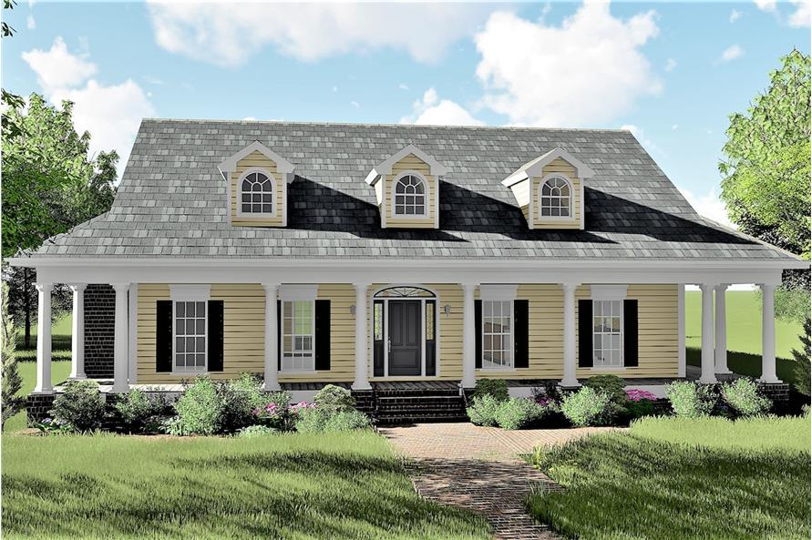 3-Bedroom, 2123 Sq Ft Country House Plan - 123-1072 - Front Exterior