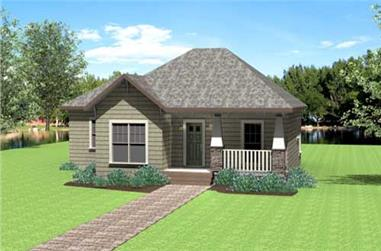 3-Bedroom, 1327 Sq Ft Country Home Plan - 123-1075 - Main Exterior