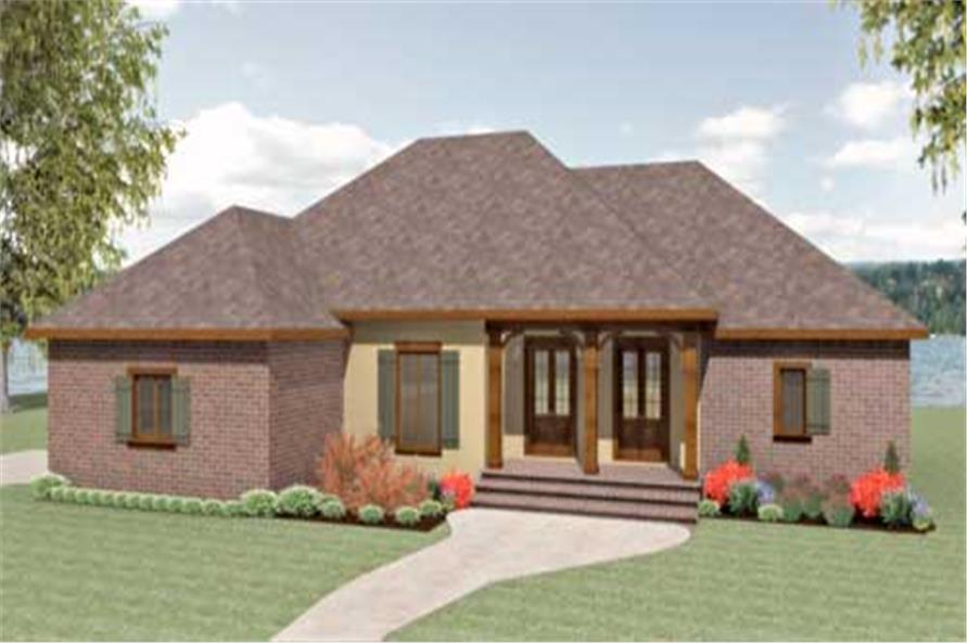 This is a colorful front elevation of these Southern House Plans.