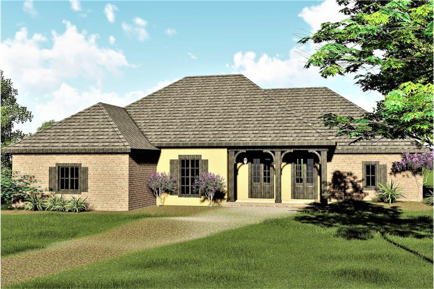 Color rendering of Country/Southern home plan (ThePlanCollection: House Plan #123-1079)