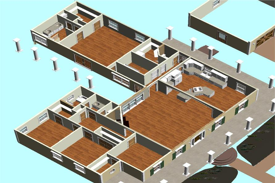Home Plan 3D Image of this 4-Bedroom,2452 Sq Ft Plan -123-1082