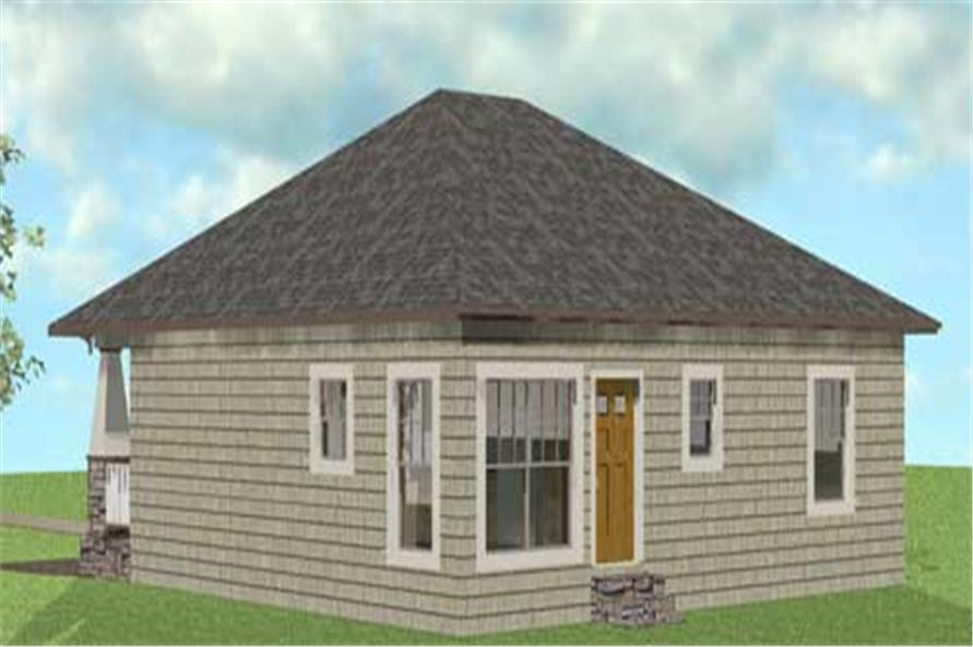 Home Plan Rear Elevation of this 2-Bedroom,1073 Sq Ft Plan -123-1083