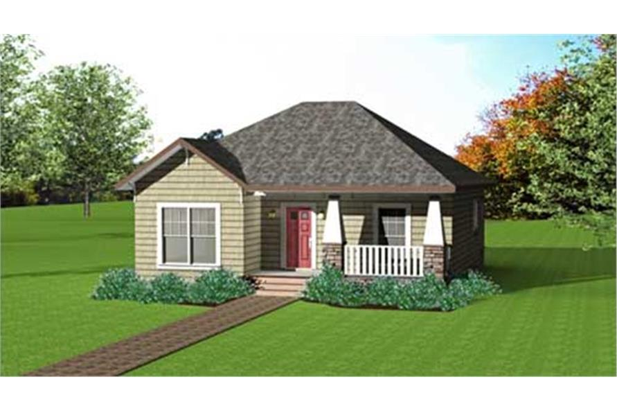 Home Plan Front Elevation of this 2-Bedroom,1073 Sq Ft Plan -123-1083