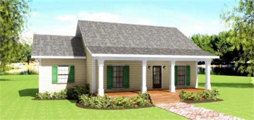 This image shows the front elevation of this set of Country Houseplans.