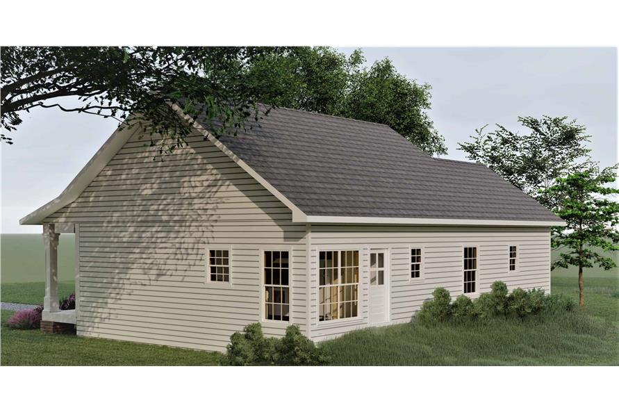 Home Plan Rear Elevation of this 3-Bedroom,1260 Sq Ft Plan -123-1084