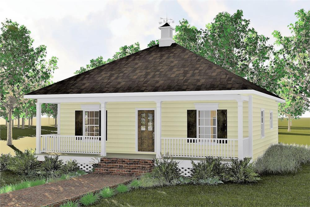 Color rendering of Bungalow home plan (ThePlanCollection: House Plan #123-1085)