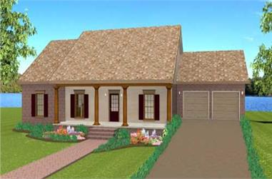 3-Bedroom, 1629 Sq Ft Country Home Plan - 123-1086 - Main Exterior