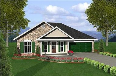3-Bedroom, 1551 Sq Ft Country Home Plan - 123-1087 - Main Exterior