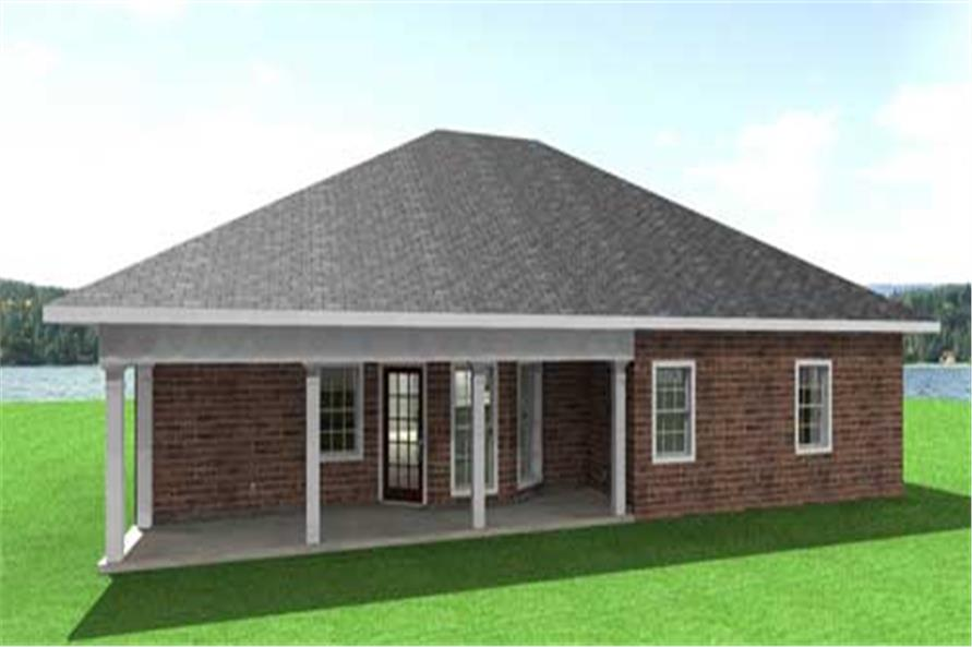 Home Plan Rear Elevation of this 3-Bedroom,1500 Sq Ft Plan -123-1089