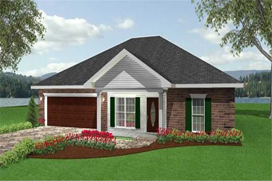 Home Plan Front Elevation of this 3-Bedroom,1500 Sq Ft Plan -123-1089