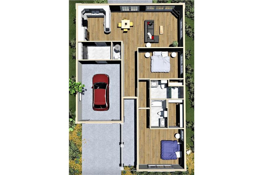 Home Plan 3D Image of this 2-Bedroom,1312 Sq Ft Plan -123-1090 - Layout