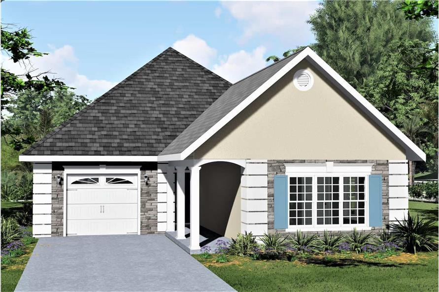 2-Bedroom, 1312 Sq Ft Small House - Plan #123-1090 - Front Exterior