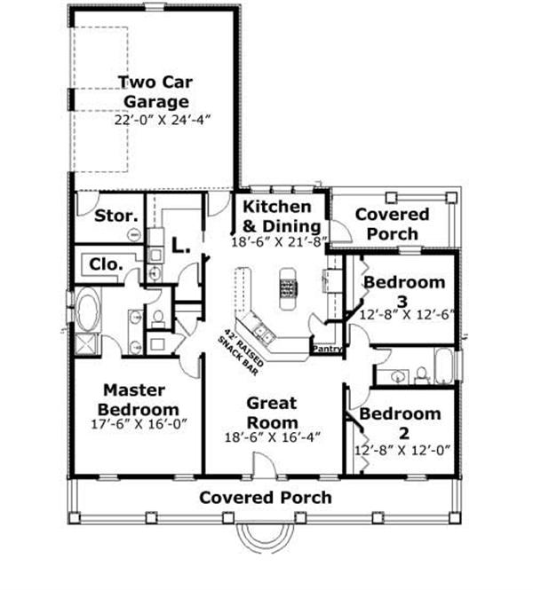 Floor Plan First Story for southern home plans # DP-1735