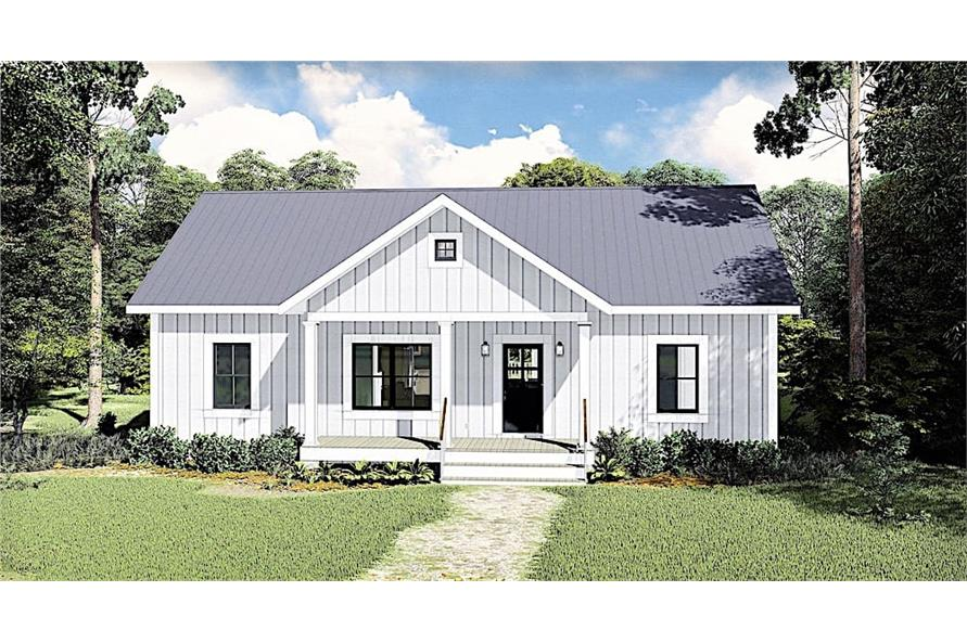 3-Bedroom, 1311 Sq Ft Ranch House Plan - 123-1100 - Front Exterior