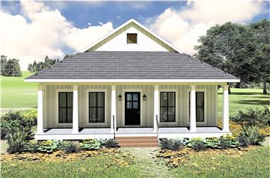 2-Bedroom, 890 Sq Ft Ranch Home Plan - 123-1109 - Main Exterior