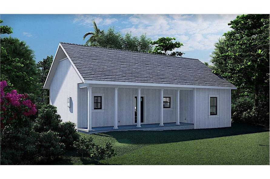 Rear View of this 3-Bedroom,1035 Sq Ft Plan -123-1116