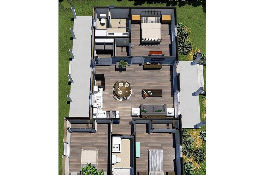 Home Plan 3D Image of this 3-Bedroom,1035 Sq Ft Plan -123-1116