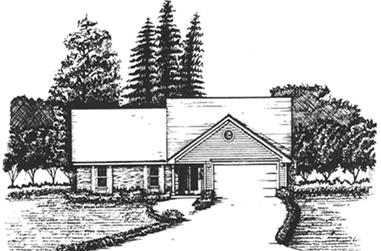 3-Bedroom, 1740 Sq Ft Ranch Home Plan - 124-1003 - Main Exterior