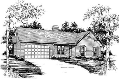 3-Bedroom, 1749 Sq Ft Ranch Home Plan - 124-1014 - Main Exterior