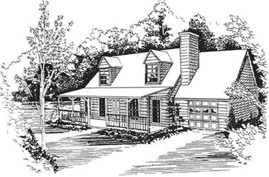 3-Bedroom, 1400 Sq Ft Country House Plan - 124-1017 - Front Exterior