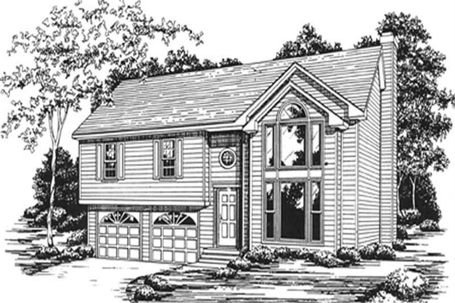 3-Bedroom, 1652 Sq Ft Multi-Level House Plan - 124-1019 - Front Exterior
