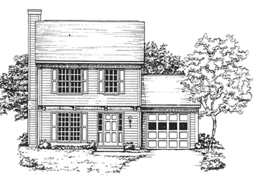 Front elevation of Colonial home (ThePlanCollection: House Plan #124-1020)