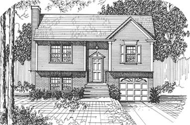 3-Bedroom, 1463 Sq Ft Multi-Level Home Plan - 124-1021 - Main Exterior