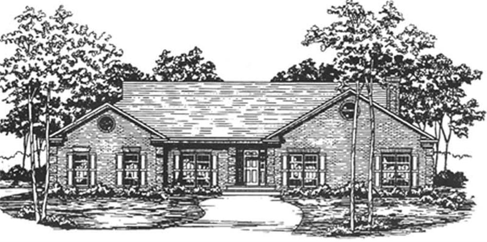 Ranch home (ThePlanCollection: Plan #124-1032)