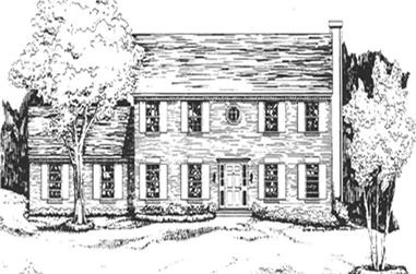 1-Bedroom, 2096 Sq Ft Colonial Home Plan - 124-1035 - Main Exterior
