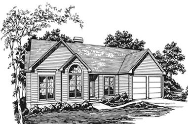 3-Bedroom, 1736 Sq Ft Ranch House Plan - 124-1038 - Front Exterior