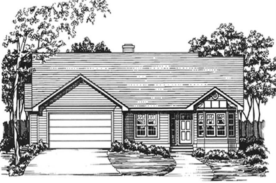 3-Bedroom, 1775 Sq Ft Ranch House Plan - 124-1039 - Front Exterior