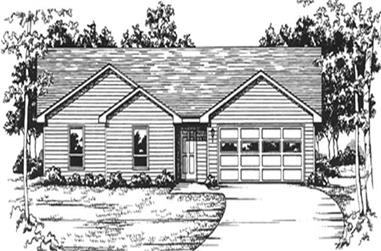 3-Bedroom, 1407 Sq Ft Ranch Home Plan - 124-1044 - Main Exterior