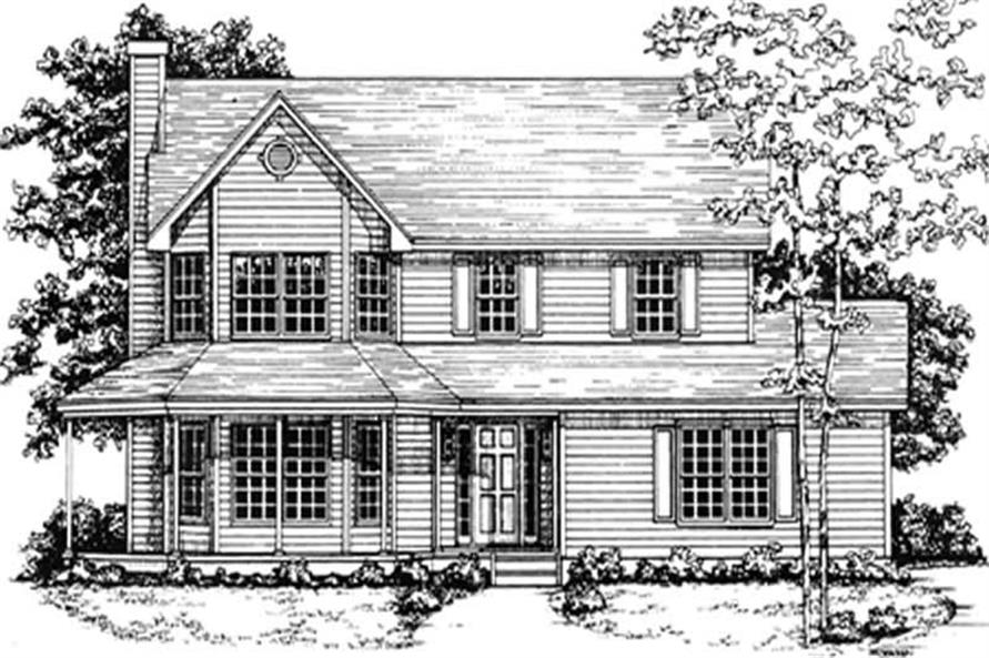 3-Bedroom, 1839 Sq Ft Colonial Home Plan - 124-1050 - Main Exterior