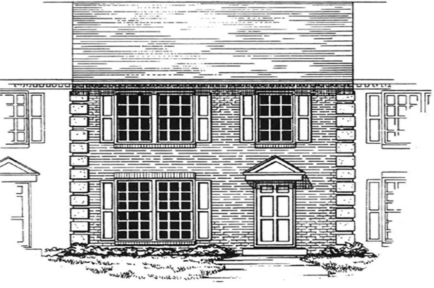 Front elevation of townhouse design (ThePlanCollection: House Plan #124-1052)