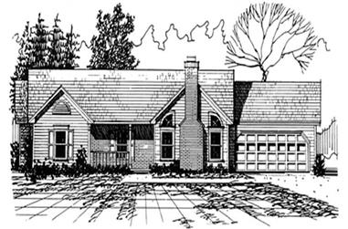 3-Bedroom, 1439 Sq Ft Country Home Plan - 124-1053 - Main Exterior