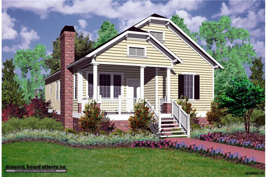 3-Bedroom, 1428 Sq Ft Bungalow Home Plan - 124-1054 - Main Exterior